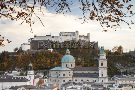 austria salzburg hohensalzberg fortress and cathedral