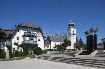 austria view of church at strobl