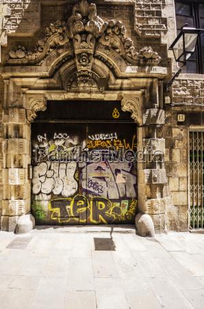 spain barcelona barri gotic graffiti on
