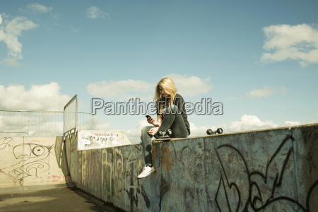 germany mannheim young woman at skate