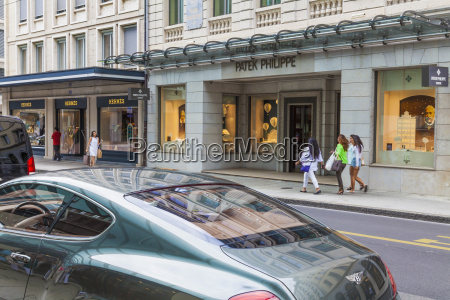 schweiz genf luxusgeschaefte in der rue