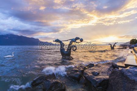 schweiz vevey genfer see seepferdchen skulptur