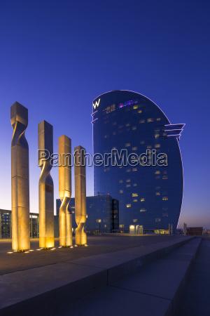 modern moderne skulptur spanien abend hotel