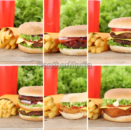 hamburger collection collage cheeseburger menu menu