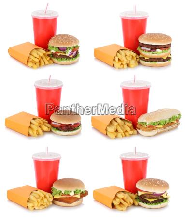 hamburger collection collage cheeseburger menu with
