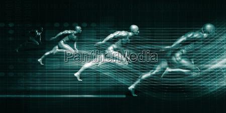 men running on technology background