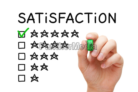 zufriedenheit fuenf sterne checkliste konzept