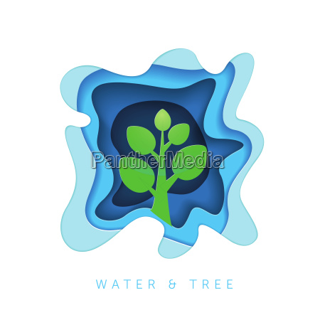 paper art style water and tree