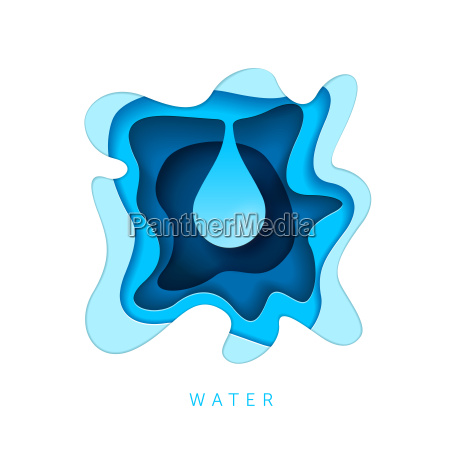 paper art style water drop