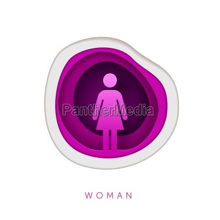paper art style woman symbol