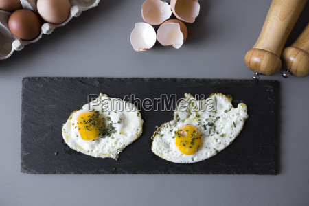 eggs sunny side up with herbs
