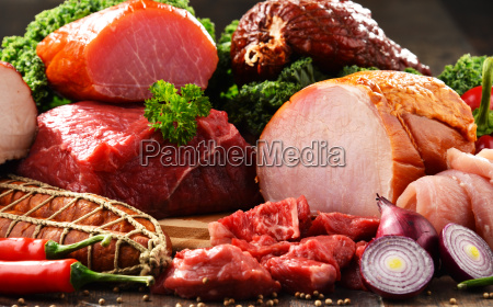 variety of meat products including ham