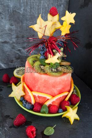 colorful cake made of fresh fruit