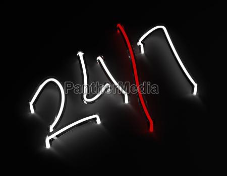 3d render 247 red neon sign