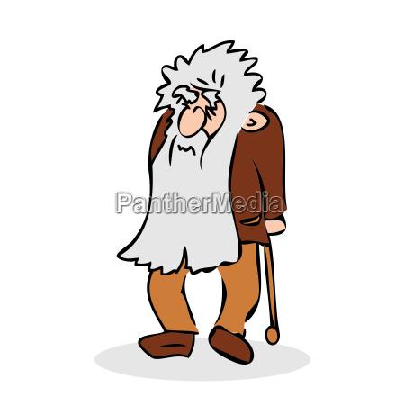 lustiger alter mann mit hut und