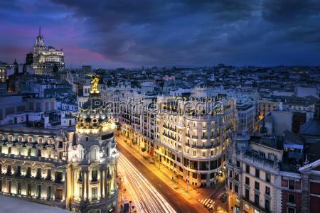 madrid stadtzentrum gran vis spanien