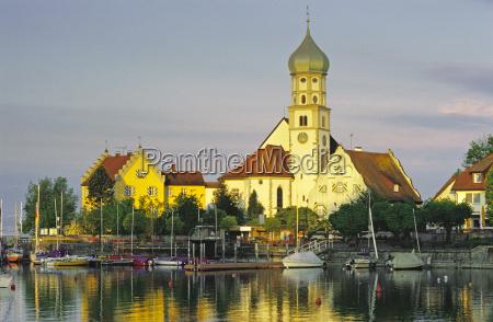 deutschland wasserburg kirche auf der halbinsel