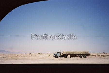 jordania truck on desert highway