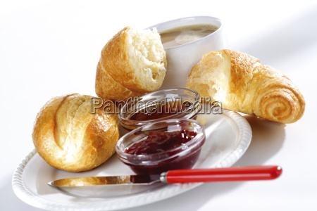 breakfast with croissant and jam