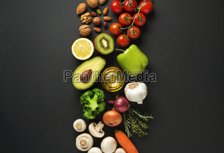 healthy food with vegetable and fruit