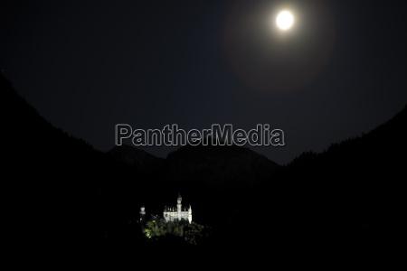 germany bavaria neuschwanstein castle at night