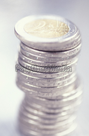 stack of two euro coins close