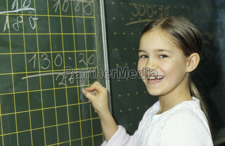 girl writing on blackboard portrait
