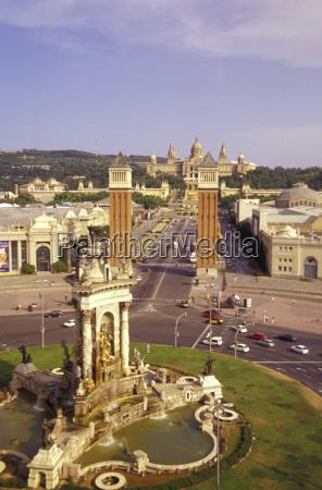 spain barcelona placa despanya elevated view