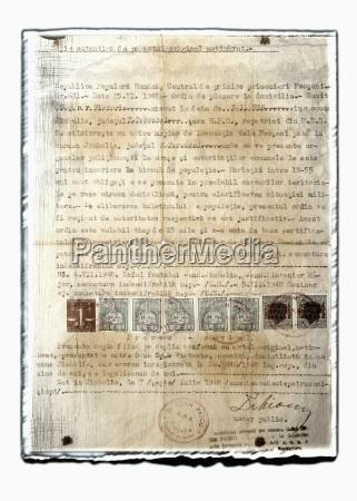 collage des alten dokuments mit stempeln