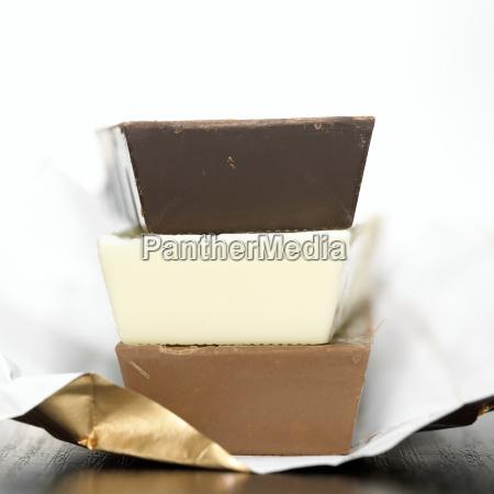 chocolate bars close up
