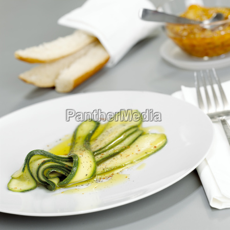 zucchini salad with marinade close up