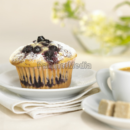 blueberry muffin on plate close up