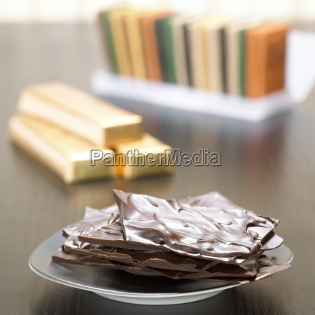 chocolate bars on plate close up