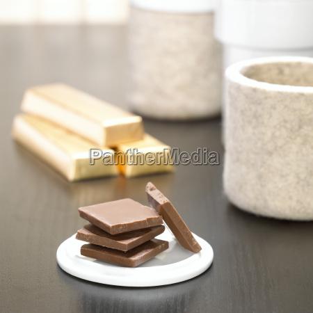 stack of dark chocolate pieces close