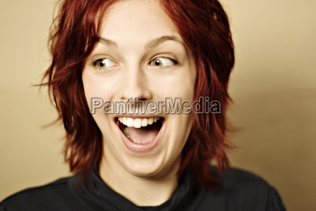 young woman laughing portrait