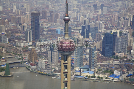 china shanghai pudong city view elevated