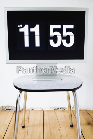 monitor screen showing time