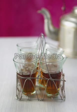 wire rack with tea glasses close