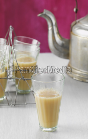 wire rack tea glasses with chai