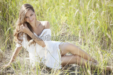 germany bavaria young woman sitting in