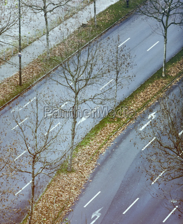 germany duesseldorf street grass strip with