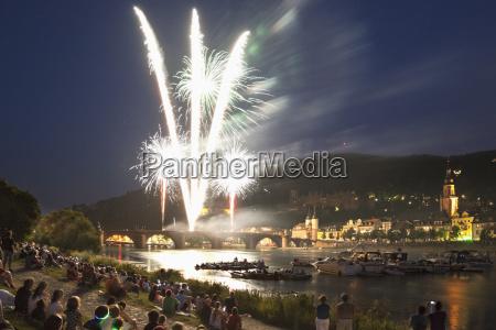 germany heidelberg people watching fireworks with
