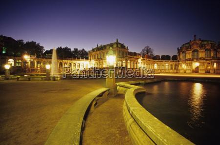 germany dresden zwinger palace illuminated at