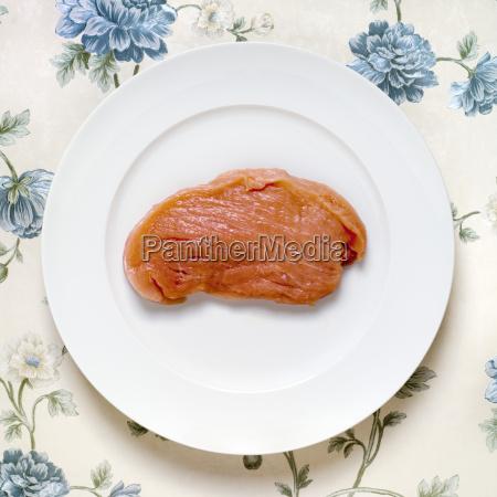 rohes schnitzel schweinefleisch erhoehte ansicht