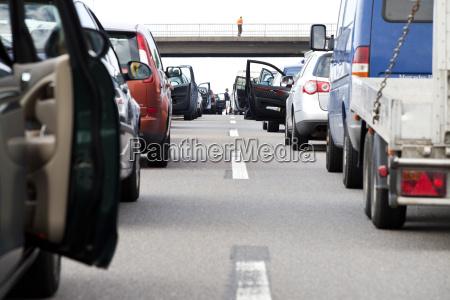 germany traffic jam on autobahn