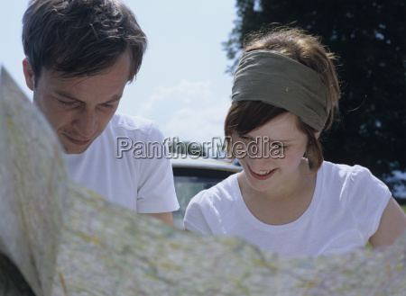 couple with map