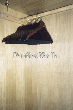 clothes rail with coat hangers