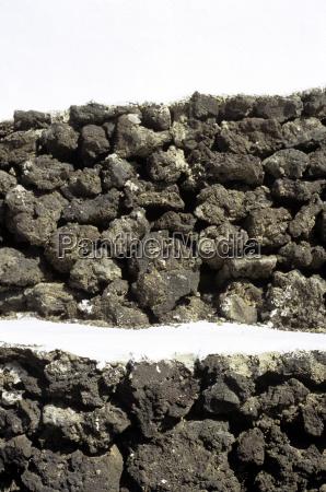 spanien lanzarote mauer aus vulkanit aus