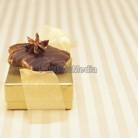 gift box with gingerbread close up