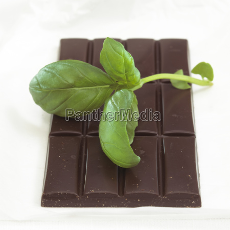 chocolate with basil flavour close up